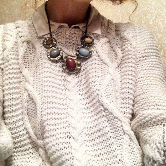 Кофты и свитера ручной работы. Ярмарка Мастеров - ручная работа. Купить Белый свитер с ромбиками и косами. Handmade. Свитер
