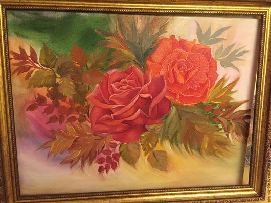 """Натюрморт ручной работы. Ярмарка Мастеров - ручная работа. Купить Картина цветы маслом - Розы. """"Все мысли о тебе"""". Handmade."""