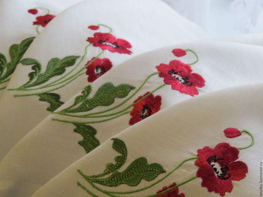 """Текстиль, ковры ручной работы. Ярмарка Мастеров - ручная работа. Купить Салфетка льняная """"Маки"""". Handmade. Белый, праздничный стол"""