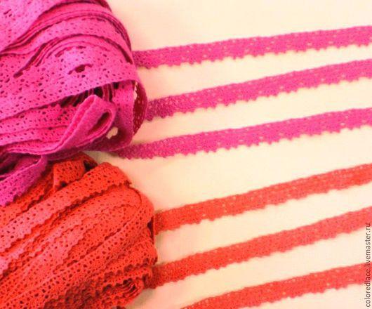 Шитье ручной работы. Ярмарка Мастеров - ручная работа. Купить Ярко-розовое и коралловое хлопковое узкое кружево арт. 4-5. Handmade.