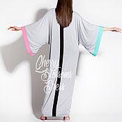 Одежда ручной работы. Ярмарка Мастеров - ручная работа Серое длинное элегантное макси платье, абайя, кафтан, ручная работа. Handmade.