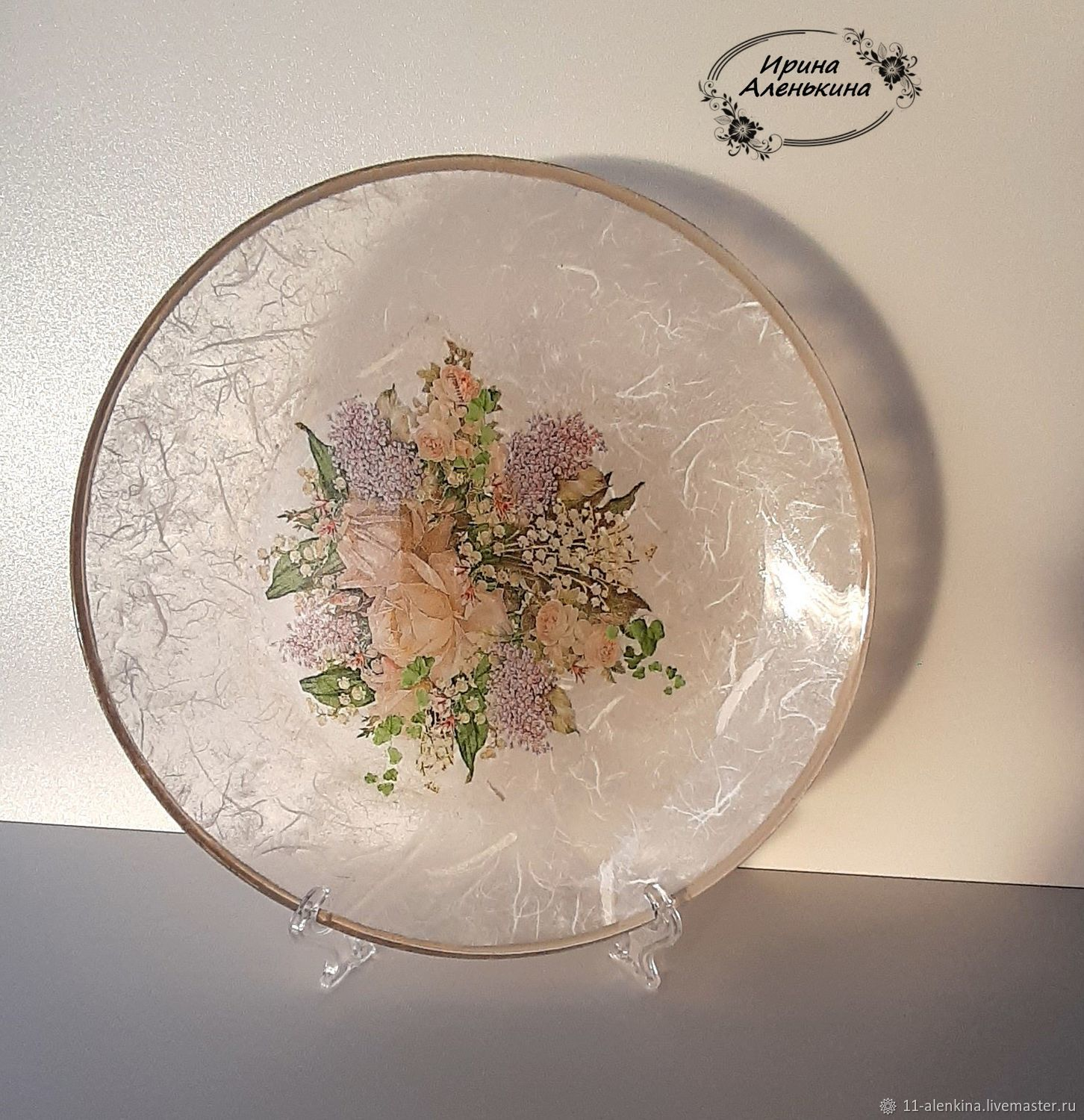 plate interior ' delicate bouquet', Stained glass, St. Petersburg,  Фото №1