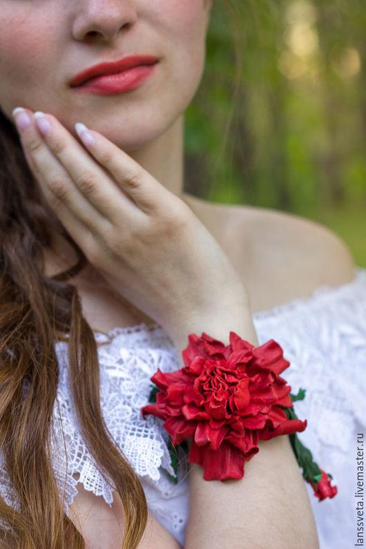 Браслеты ручной работы. Ярмарка Мастеров - ручная работа. Купить Браслет из кожи Роза. Цветы из кожи. Роза из кожи.. Handmade.