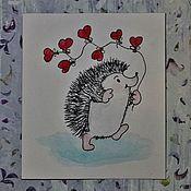 """Открытки ручной работы. Ярмарка Мастеров - ручная работа Подарочная открытка """"Влюбленный Ёжик"""". Handmade."""