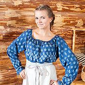 Одежда ручной работы. Ярмарка Мастеров - ручная работа Платье синее с набойкой с неокрашенной юбкой. Handmade.