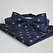 Аксессуары handmade. Livemaster - original item Dark blue tie Lord dark blue pocket square. Handmade.