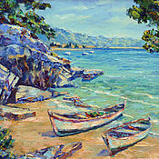 Картины и панно handmade. Livemaster - original item Oil painting on canvas sea Croatia, landscape with boat. Handmade.