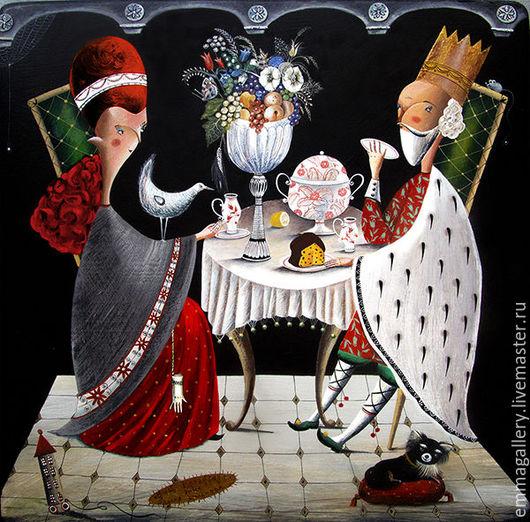 Фантазийные сюжеты ручной работы. Ярмарка Мастеров - ручная работа. Купить Kings Breakfast. Авторская печать на керамике.. Handmade. Король