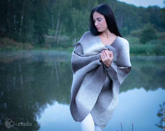 Верхняя одежда ручной работы. Ярмарка Мастеров - ручная работа. Купить Пальто валяное Вязаное пальто. Handmade. Машинное вязание