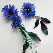 Украшения handmade. Livemaster - original item Flower Cornflower Earrings.. Handmade.