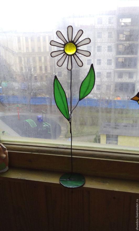 Элементы интерьера ручной работы. Ярмарка Мастеров - ручная работа. Купить витражный цветок ромашка. Handmade. Комбинированный, цветок, ромашка