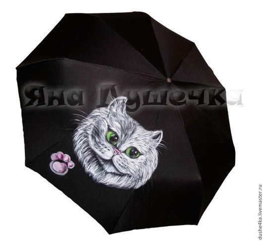 """Зонты ручной работы. Ярмарка Мастеров - ручная работа. Купить Зонт с росписью """"Белый  кот"""". Handmade. Черный, зонтик"""