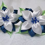 Украшения handmade. Livemaster - original item Gum from satin ribbons in the technique of kanzashi Bell. Handmade.