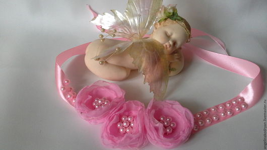 Свадебные украшения ручной работы. Ярмарка Мастеров - ручная работа. Купить Лента в прическу с цветами из шифона. Handmade. Розовый