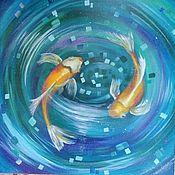 Картины и панно ручной работы. Ярмарка Мастеров - ручная работа Золотые рыбки. Handmade.