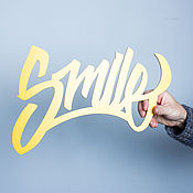 Для дома и интерьера ручной работы. Ярмарка Мастеров - ручная работа Слово для фотосессии Smile (желтое). Handmade.