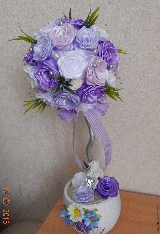 Розы из атласных лент топиарии мастер класс фото