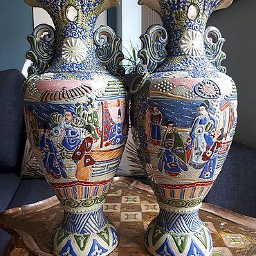 Для дома и интерьера ручной работы. Ярмарка Мастеров - ручная работа Две большие вазы, Satsuma,  Япония.. Handmade.