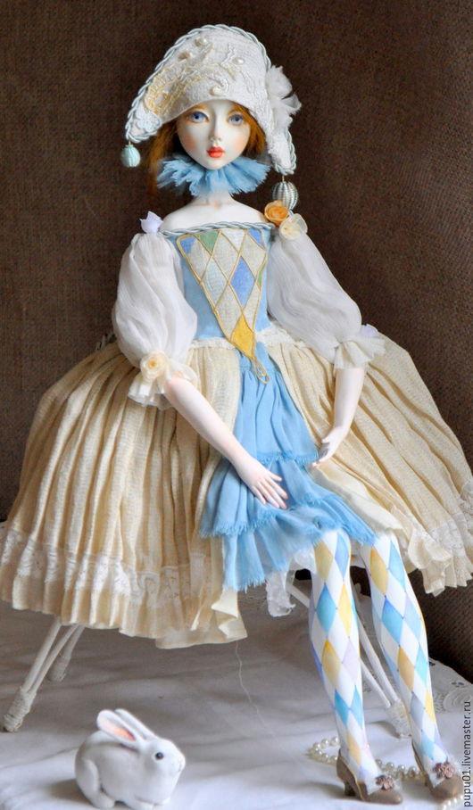 Коллекционные куклы ручной работы. Ярмарка Мастеров - ручная работа. Купить Коломбина. Handmade. Комбинированный, авторская кукла, шёлк натуральный