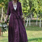 Платья ручной работы. Ярмарка Мастеров - ручная работа Фиолетовое льняное платье. Handmade.