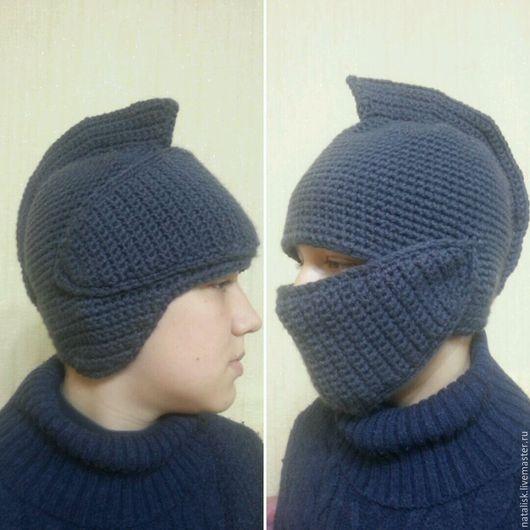 Шапки ручной работы. Ярмарка Мастеров - ручная работа. Купить Шапка шлем рыцаря. Handmade. Темно-серый, однотонный