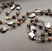 Украшения handmade. Livemaster - original item necklace with pendant autumn shades of pearl, topaz, jasper. Handmade.