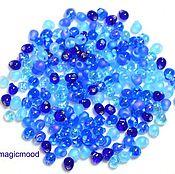 Материалы для творчества handmade. Livemaster - original item 10 g MIX 02 Miyuki Drops 3,4 mm shades of blue Japanese beads Miyuki. Handmade.