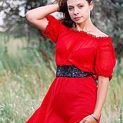 Одежда ручной работы. Ярмарка Мастеров - ручная работа Кармен красное платье в пол. на выпускной.. Handmade.