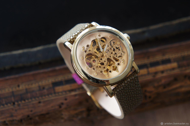 часы наручные, ремешок из кожи ската, часы женские, часы мужские, ремешок из ската, часы, ремешок на часы, часовой ремешок, часы механические, скелетоны, часы наручные, Ярмарка Мастеров- Часы