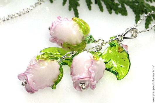 Кулоны, подвески ручной работы. Ярмарка Мастеров - ручная работа. Купить Кулон Английские розы 925 серебро лэмпворк lampwork роза. Handmade.