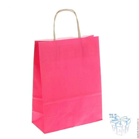 Упаковка ручной работы. Ярмарка Мастеров - ручная работа. Купить Крафт пакет, 25х32х11 см, с кручеными ручками, малиновый, розовый. Handmade.