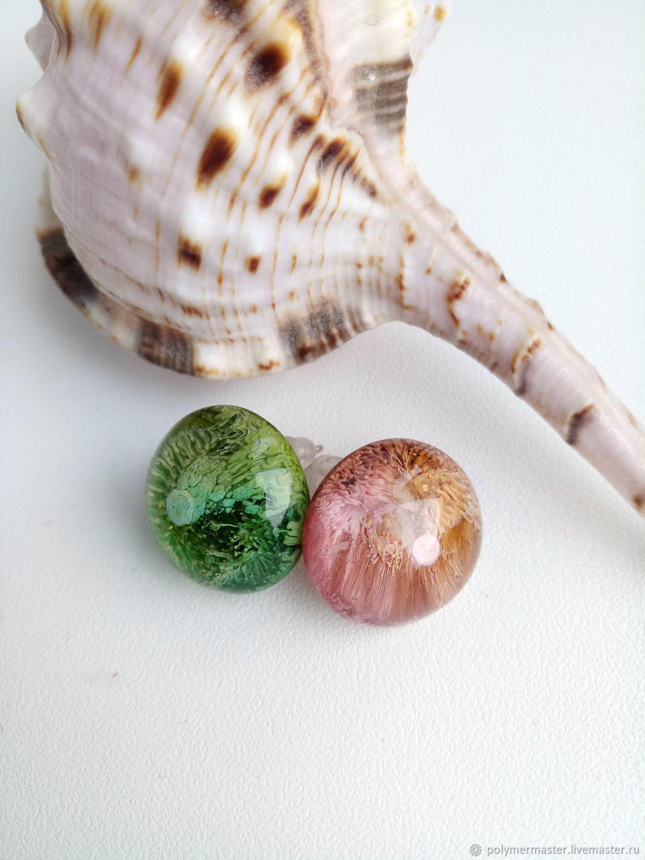 Сережки-гвоздики,  цветные полусферы, Серьги-пусеты, Подольск,  Фото №1