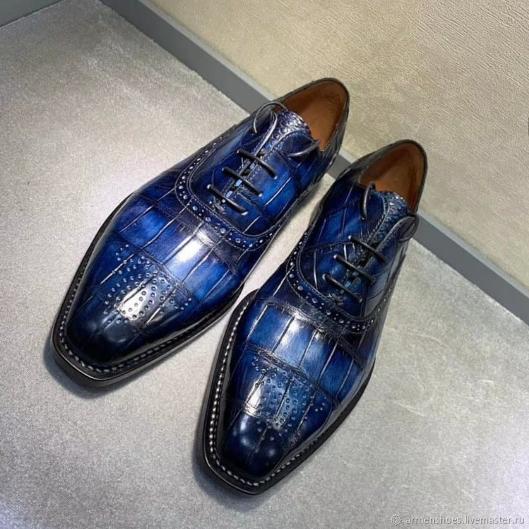 Crocodile leather brogues, hand-painted, dark blue, Brogues, Tosno,  Фото №1