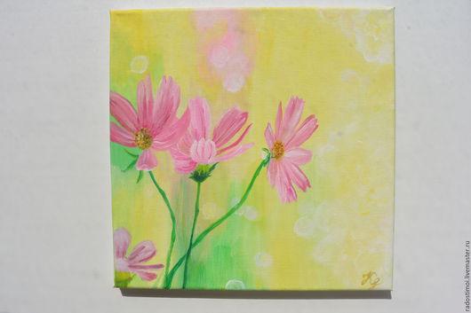 Картины цветов ручной работы. Ярмарка Мастеров - ручная работа. Купить Розовые ромашки. Handmade. Комбинированный, холст на подрамнике, цветы