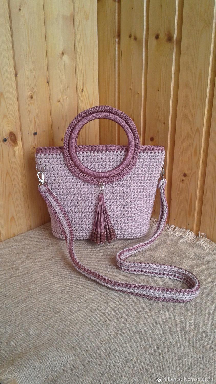 Вязаная лиловая сумочка на длинном ремешке, Классическая сумка, Владимир,  Фото №1