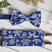 Аксессуары handmade. Livemaster - original item Bow tie and suspenders Crystal Ice / Christmas tie, suspenders. Handmade.