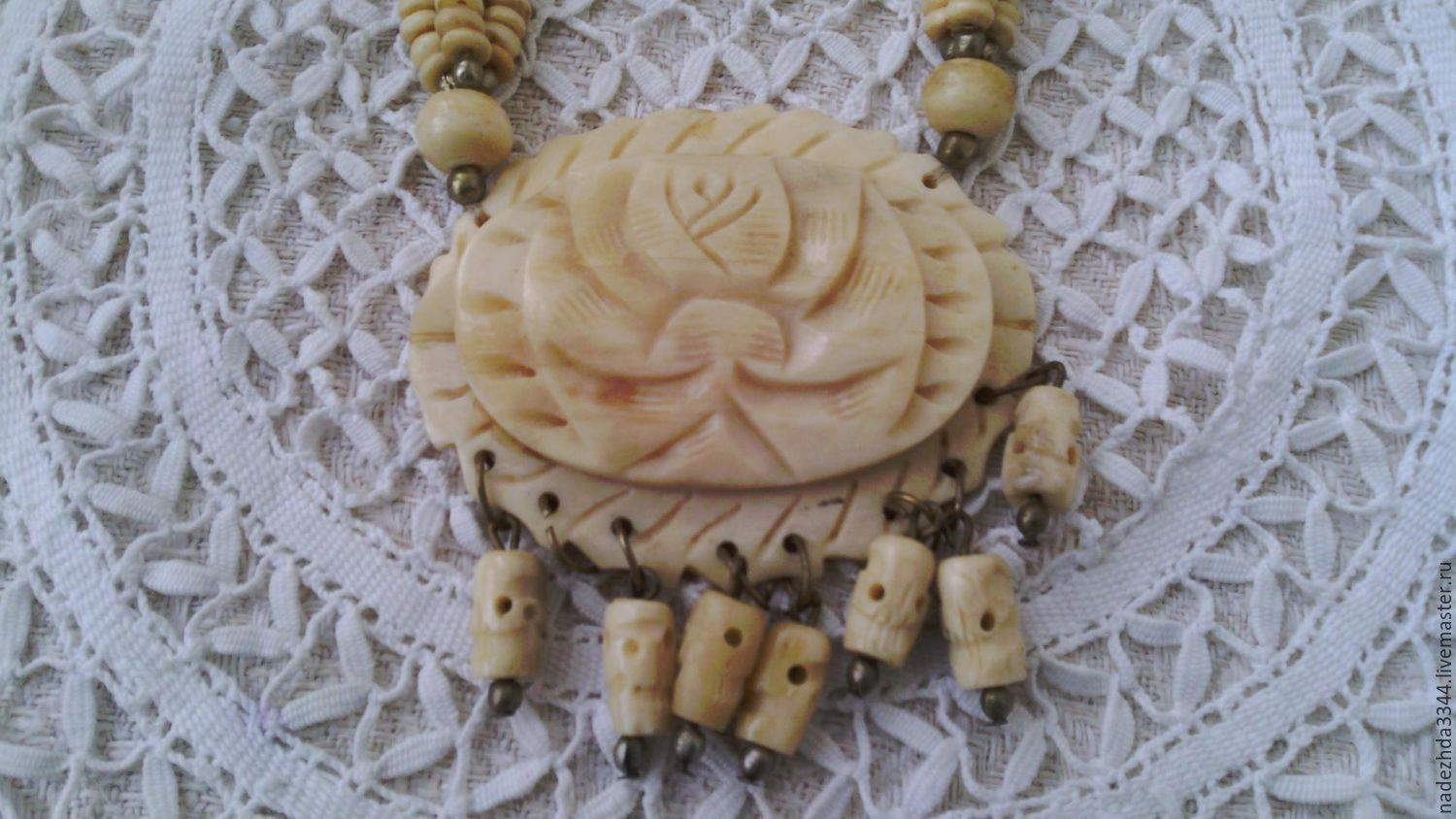 Vintage necklace. Ivory, Vintage necklace, Moscow,  Фото №1