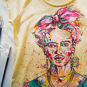 Одежда ручной работы. Ярмарка Мастеров - ручная работа футболка моя Фрида. Handmade.