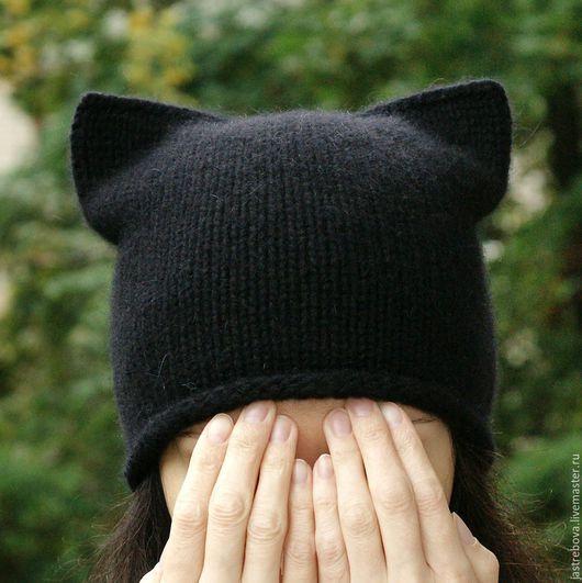 Шапки ручной работы. Ярмарка Мастеров - ручная работа. Купить Вязаная женская шапка-кошка, шапка с ушками, котошапка  для девушки. Handmade.