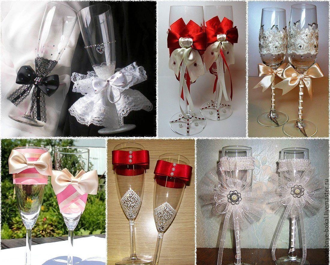 Фото свадебные бокалы своими руками