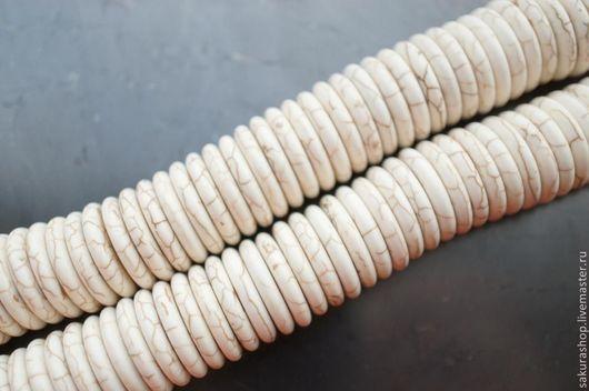 Для украшений ручной работы. Ярмарка Мастеров - ручная работа. Купить Говлит рондель 16х3мм. Handmade. Белый, рондель