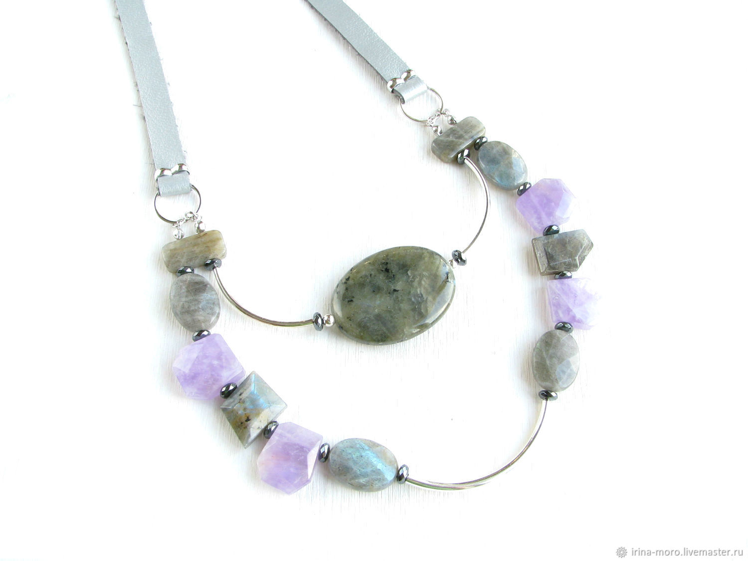 Multi-row necklace, natural stones necklace, necklace gift for a girl, Necklace, Moscow,  Фото №1