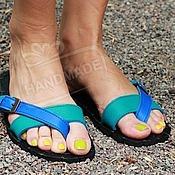 Обувь ручной работы handmade. Livemaster - original item sandals mood leather turquoise with blue. Handmade.