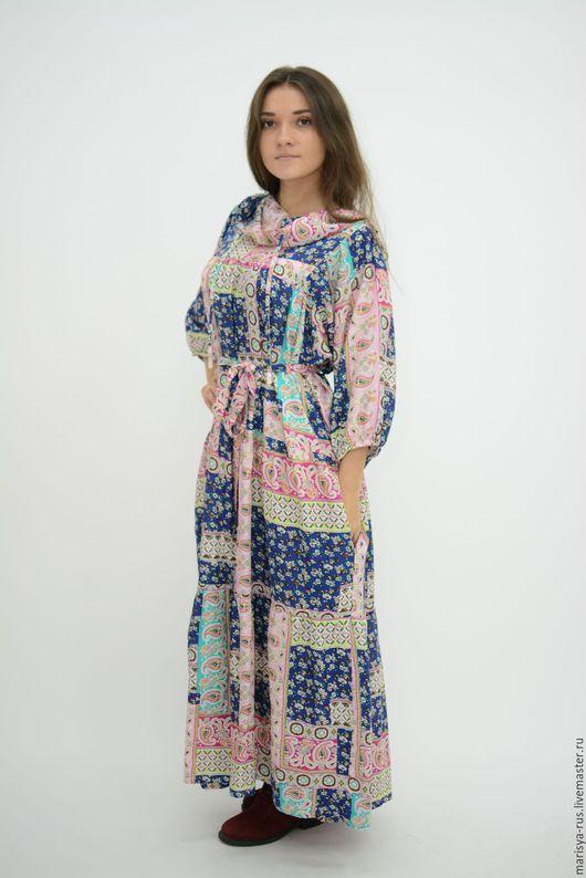 """Платья ручной работы. Ярмарка Мастеров - ручная работа. Купить Платье с капюшоном """"Печворк"""". Handmade. Комбинированный, платье в русском стиле"""