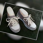 Обувь ручной работы handmade. Livemaster - original item Knitted sneakers,street wear, beige. Knitted shoes for the street.. Handmade.