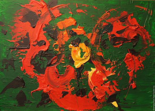 Абстрактная композиция, написанная в авторской технике. Художник: Дворянинов Сергей Картина оформлена: рама + крепление к стене (натянутая веревка)
