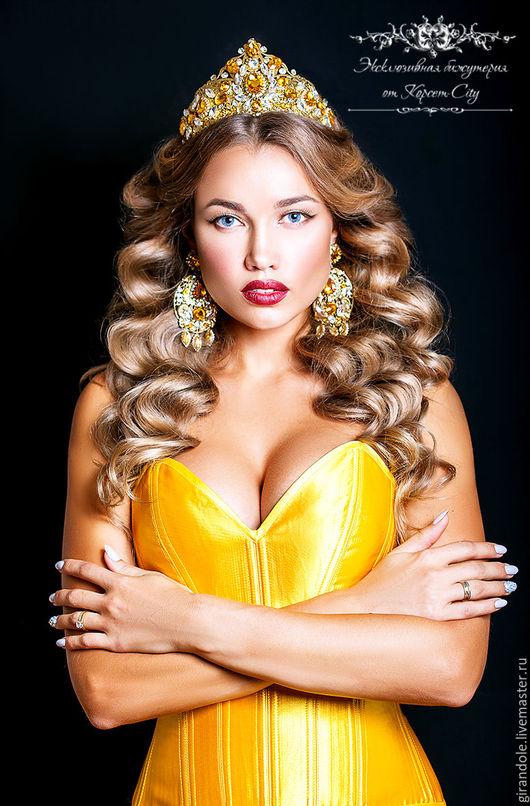 Диадемы, обручи ручной работы. Ярмарка Мастеров - ручная работа. Купить Тиара-корона для волос «Золото инков»  в стиле DOLCE & GABBANA ободок. Handmade.