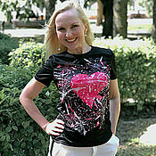 Одежда handmade. Livemaster - original item T-shirt a woman`s Heart in tulips. Handmade.