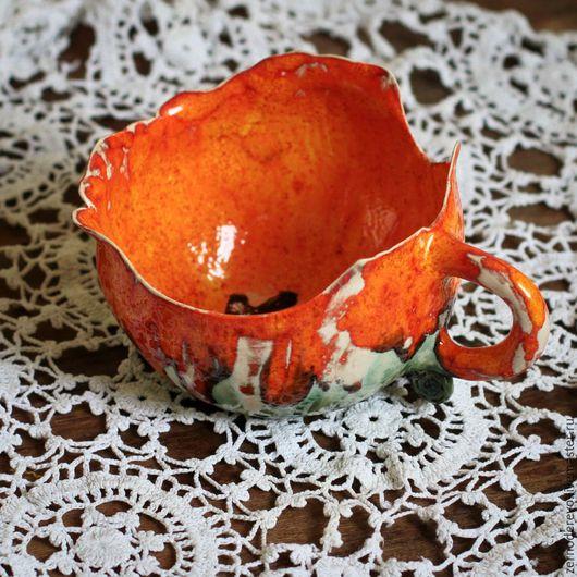 Кружки и чашки ручной работы. Ярмарка Мастеров - ручная работа. Купить Поппи, цветочная чашка-мак. Handmade. Оранжевый, чай