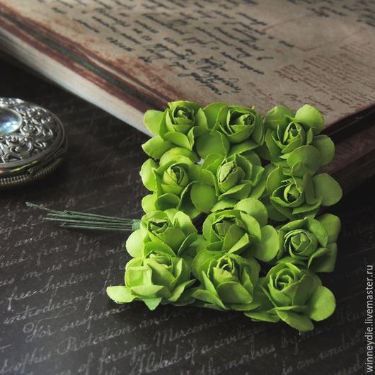 Открытки и скрапбукинг ручной работы. Ярмарка Мастеров - ручная работа. Купить Цветы розы зеленые 12 шт. Handmade. Розы
